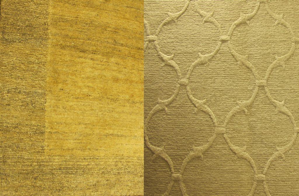 Detalii cu covoare integral din fibra naturala fara colorati Stanga din canepa realizat in Nepal dreapta din in realizat in India. De la Flying Carpets
