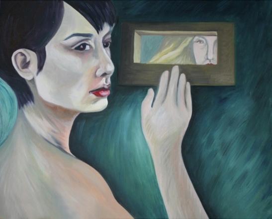 "Artist Andreea Vintila  ""The window"", ulei pe panza, 60 x 50 cm,  2801 lei redus la 2521 lei la CELEBRATION"