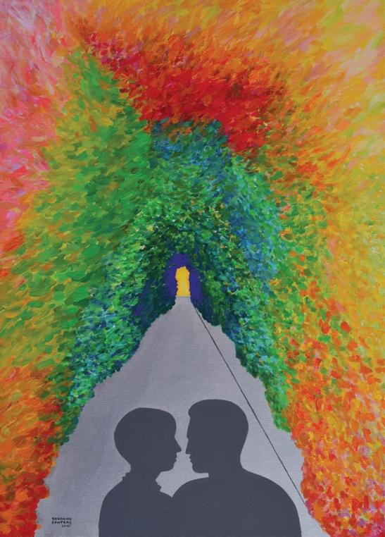 """Artist Bogdana Contraș """"Viitorul sună bine"""", 70 x 50 cm, acrilic pe pânză, 2340lei redus la 2106 lei  in expozitia CELEBRATION"""