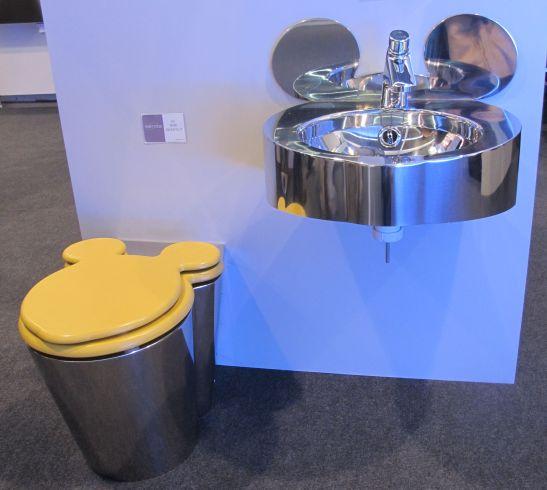 Colectia mini cu lavoar si vas wc pentru copii din metal inoxidabil de la Senda