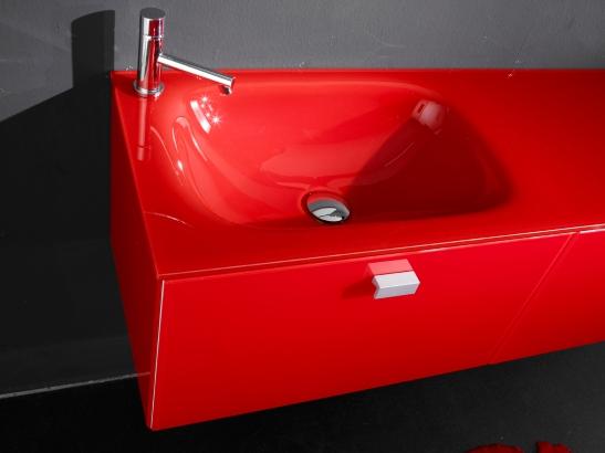 Lavoar rosu din sticla colorata fabricat de Top Stil Virginia