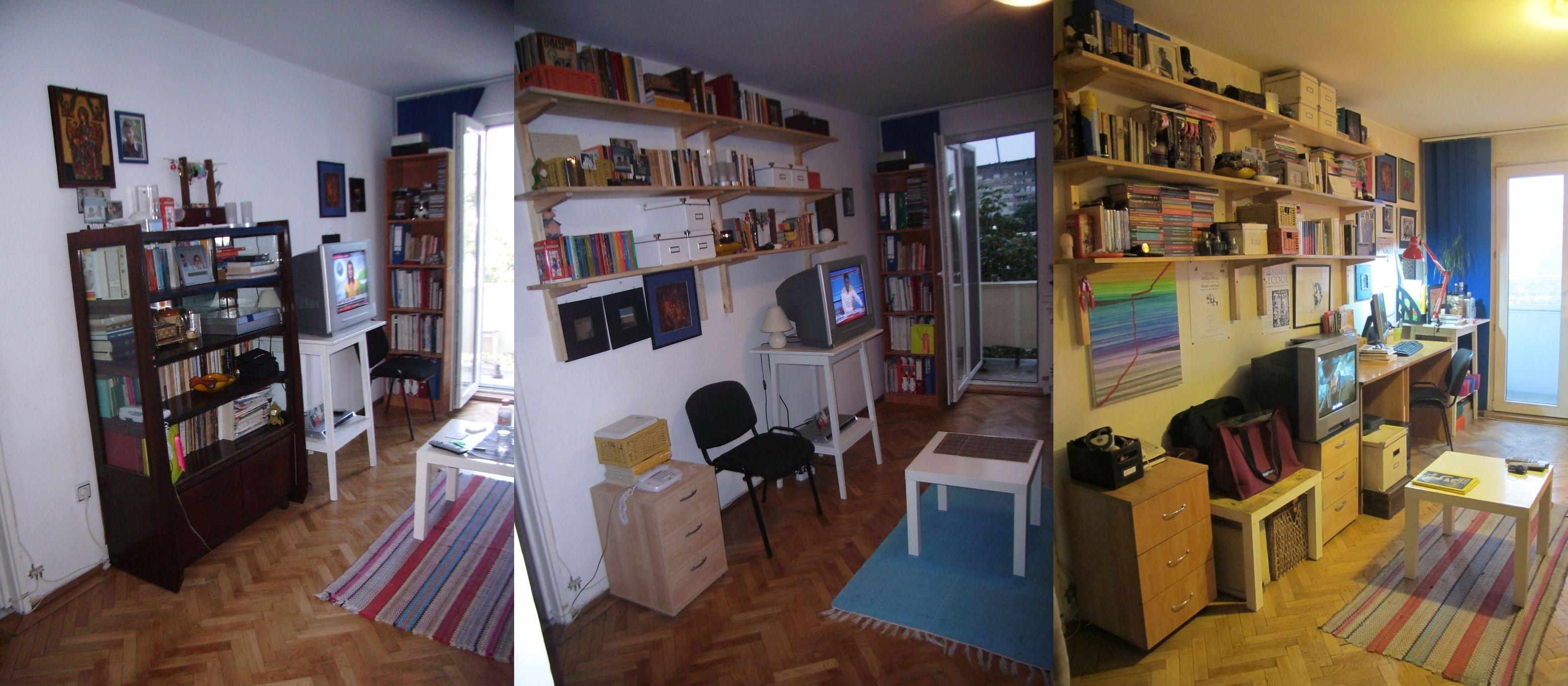Etape in crearea locului de birou si aranajarea bibliotecii. A durat vreun an de zile pana sa se ajunga la forma finala. pana la urma daca nu le poti avea pe toate deodata nu e nicio disperare