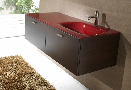 Lavoar din sticla colorata integrat in mobilier baie, dimensiuni 1200 mm, de la Top Stil Virginia