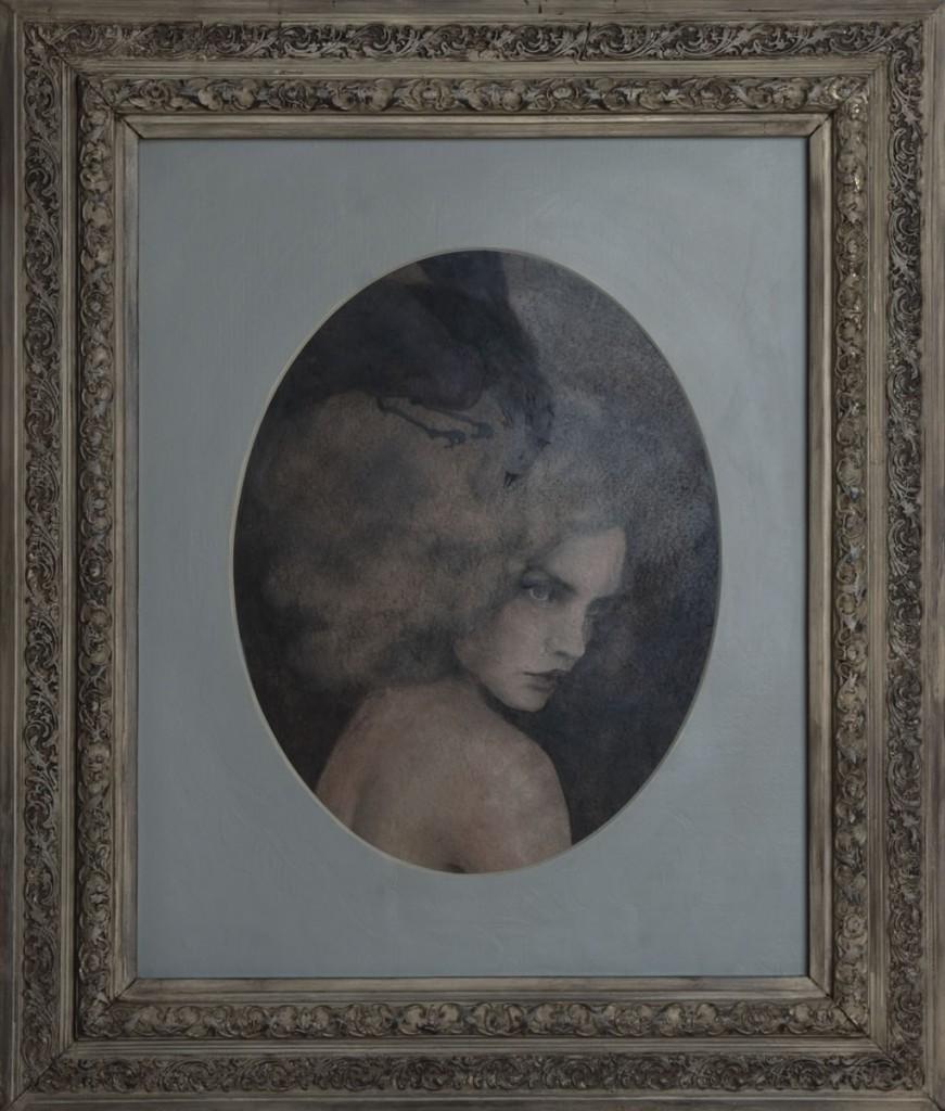 Marea calatorie a Adrianei cu pasarea, pictura 72 x 85 cm, artist Barbara Hangan