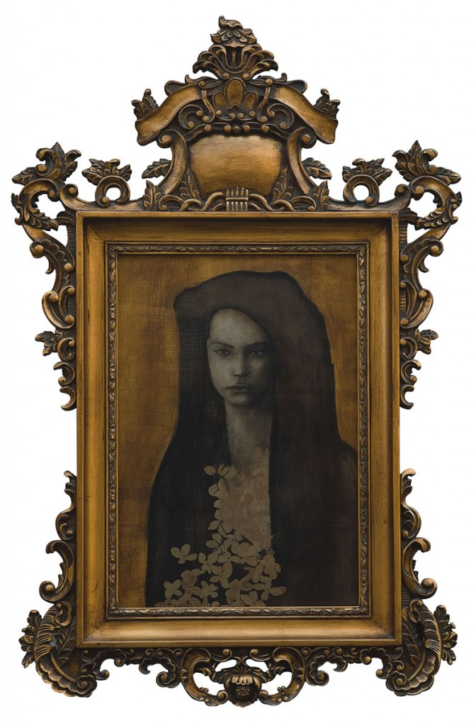 Mireasa cu marama neagra, pictura 67 x 87 cm, artist Barbara Hangan