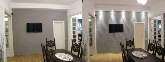 Perete placat cu piatra taiata in relief in showroomul Dream Home Design. De remarcat efectul pe care il are un iluminat decorativ in zona