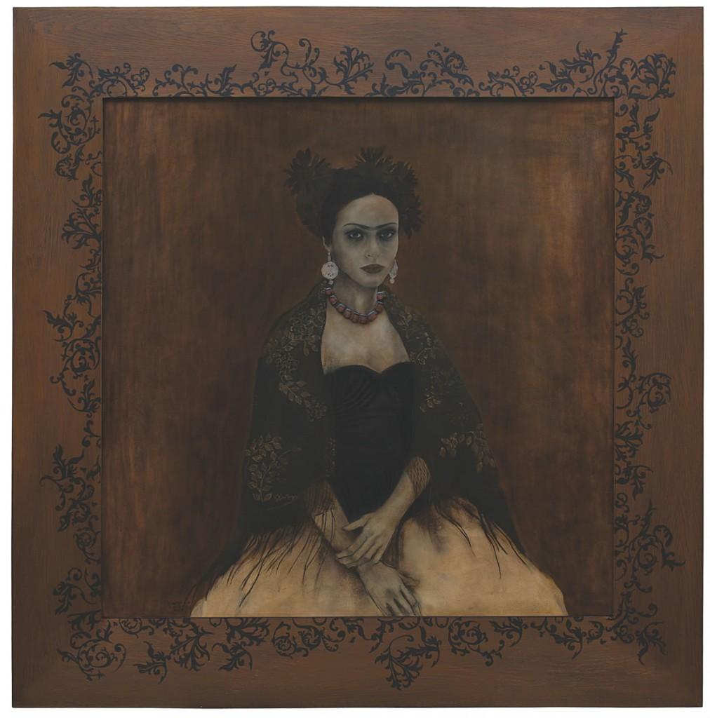 Raven, pictura 130 x 130 cm, artist Barbara Hangan