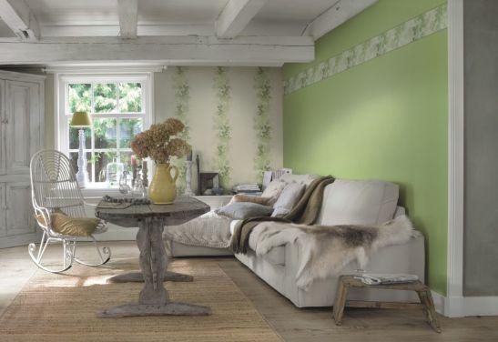 Tapet verde pastel si cu decor vegetal colectia Seduction 2014 marca Rasch