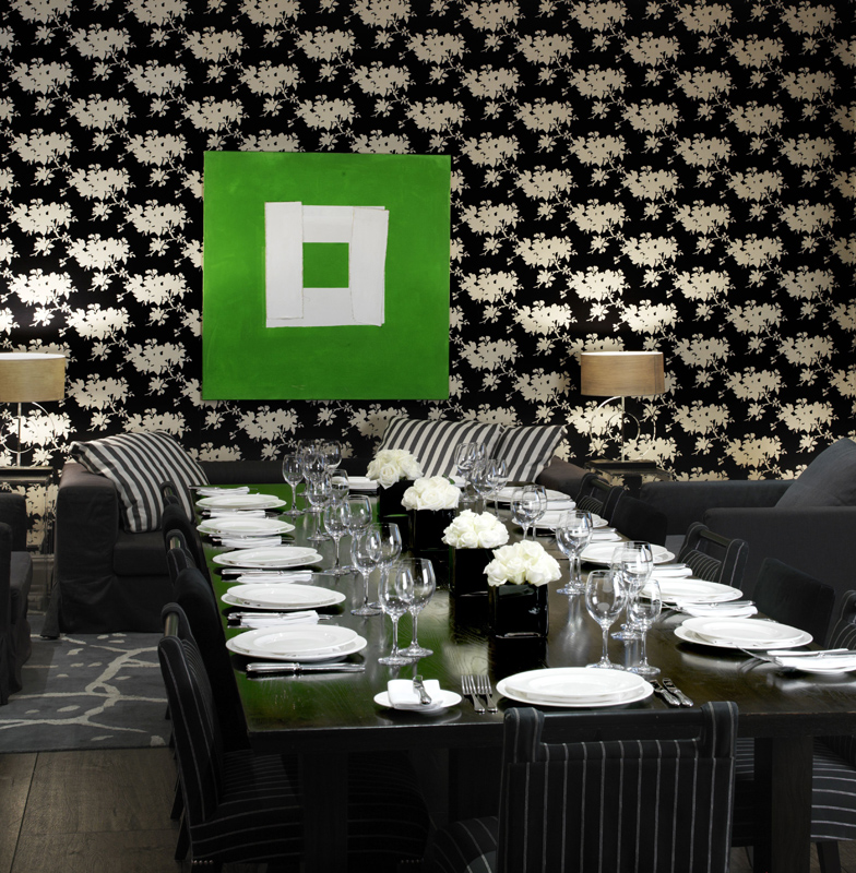 Black & white room pentru evenimente private, inclusiv nunti, la The Soho Hotel designer Kit Kemp