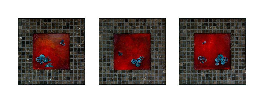 Brainstorming, 3 lucrari fiecare 31 x 31 cm, tehnica mixta pe lemn, artist Elena Vijoli