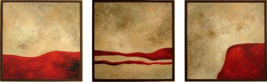 Come away with me, 3 piese fiecare 35 x 35 cm, tehnica mixta pe panza, artist Elena Vijoli