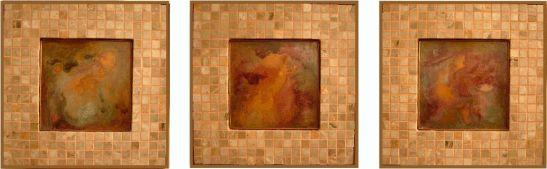 Lessons from God, 3 piese fiecare 31 x 31 cm, tehnica mixta pe lemn, artist Elena Vijoli