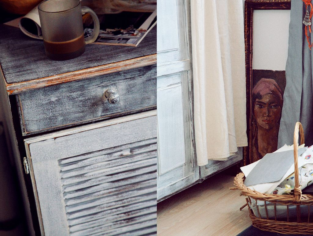Patina alba ii confera mobilei reconditionate un aspect vintage. Proiect amenajare Valdecor