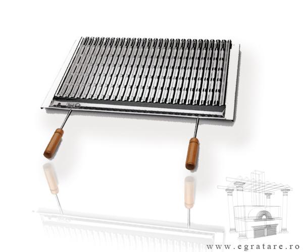 CONCURS! Poti castiga acest grill din inox cu picurator si manere lemn 84x40 cm