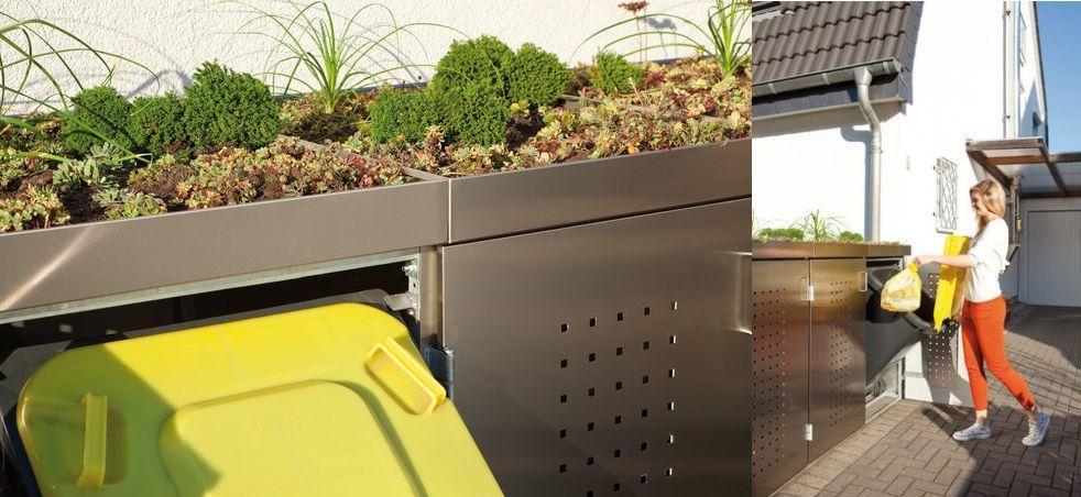 Sistemul de depozitare a gunoiului Binto cu capac pentru plante varianta inox