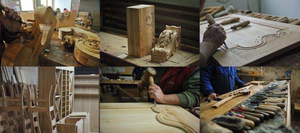 Multa munca manuala este facuta pentru a desavarsi detaliile in lemn ale pieselor oferite de Apollo Romania