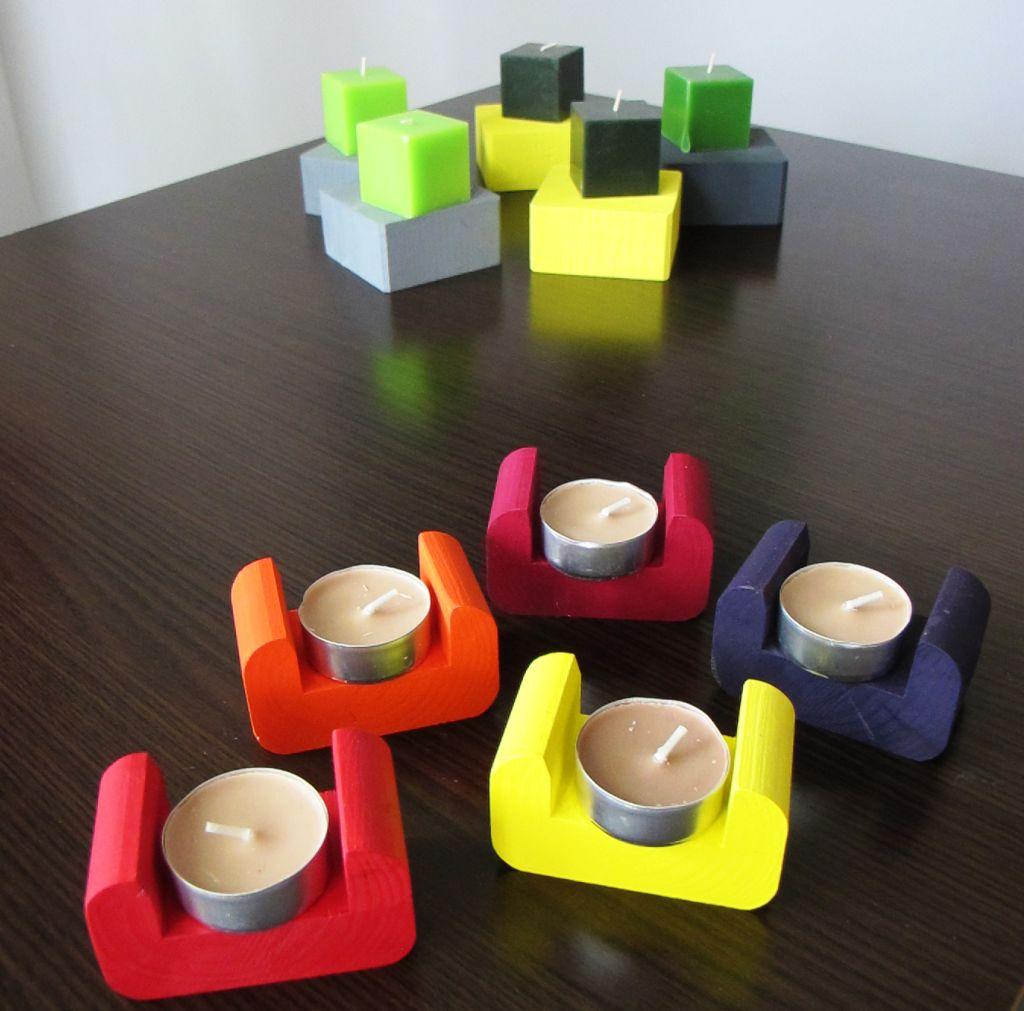 Diferite suporturi din lemn colorate - rezultate ale experimentarilor Lilianei