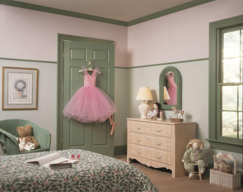 Nuanta de verde kaki in combinatie cu roz Foto Copyright © Akzo Nobel