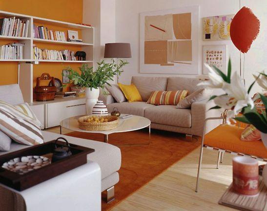 Solutie cu biblioteca pe toata lungimea camerei. Idee prezentata de Schöner Wohnen, mobilier de la Hulsta