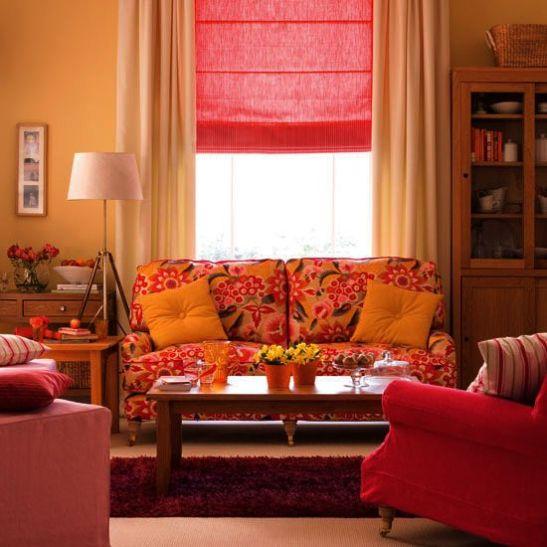 Stii frunzele acelea colorate de la galben la roz? Ei bine poti folosi paleta acesta calda si acasa pentru husa canapelei spre exemplu. Merge de minune cu mobilier deschis la culoare si cu o nuanta de galben pal. Adauga un covor inchis mov. si decoratiuni in culori uni ca s anu aglomerezi pre amult livingul. O combinatie energizanta.