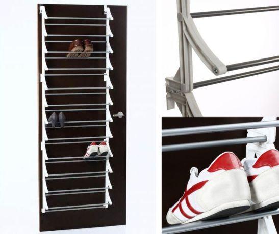 Suport pentru 36 de perechi pantofi care se fixeaza de usa. Model de la Fraromshop pret 105 lei cu TVA inclus.