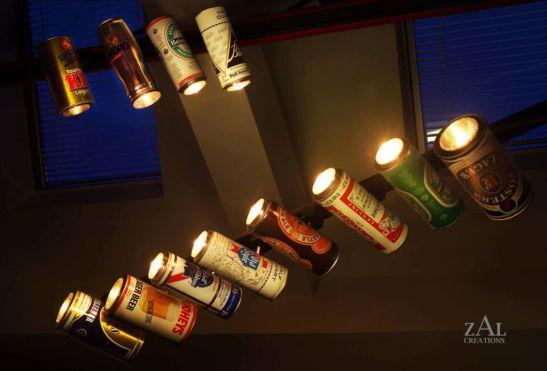 Corpuri de iluminat din cutiid bere create de Zal Creations
