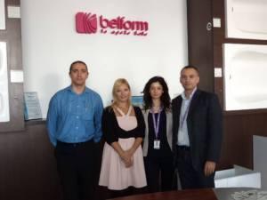 Designerul Irina Alexandru (stanga) alaturi cei din conducerea Belform