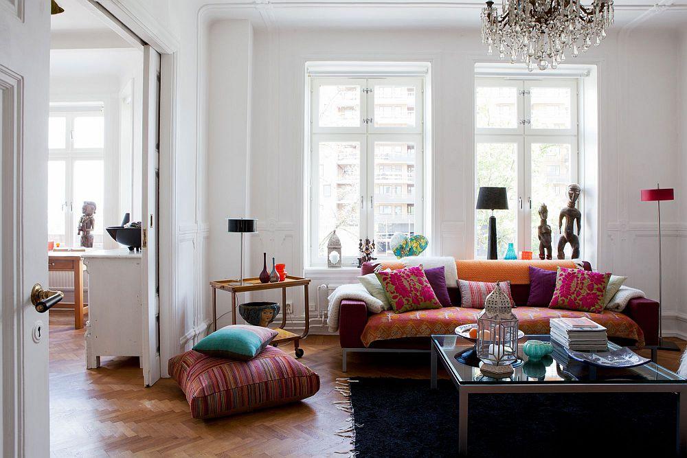 interior vintage cu mobila moderna pereti albi si decoratiuni colorate adela p rvu interior. Black Bedroom Furniture Sets. Home Design Ideas