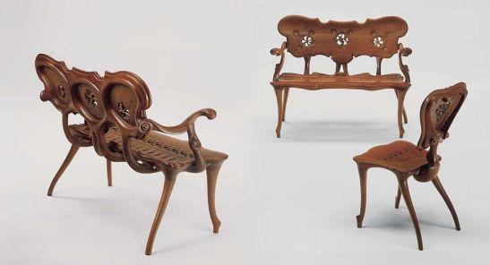 Calvet bacheta si scaun, design Antoni Gaudí 1902