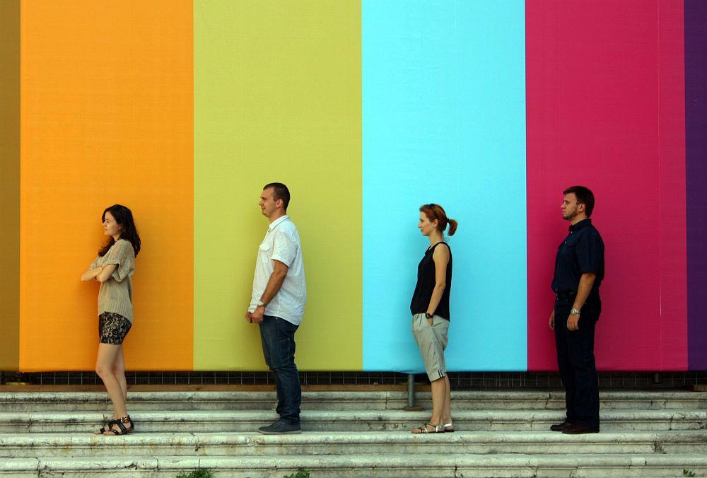 Arhitectii de la Tecto Arhitectura de la stanga la dreapta: Sabrina Ene, Sergiu petrea, Cristina Petrea, Sebastian Burcoveanu